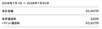 ソフトバンク通信料